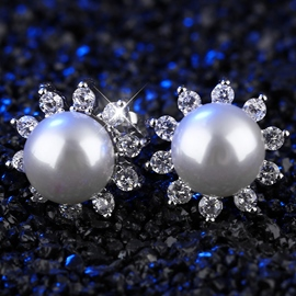 Ericdress White Pearl Inlaid Diamante Stud Earrings