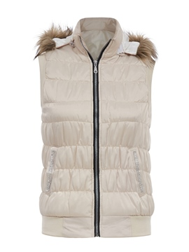 Ericdress Plain Rhinestone Patchwork Detachable Hooded Vest