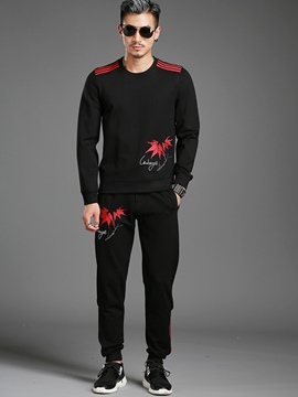 Ericdress Long Sleeve Print Vogue Pullover Two-Piece of Men's Suit