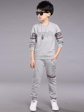 Ericdress Letter Print Stripe Long Sleeve Boys Outfit