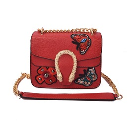 Vogue Butterfly Embroidery Chain Crossbody Bag