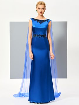 Ericdress Graceful A Line Bateau Neck Applique Lace Floor Length Evening Dress With Wateau Train