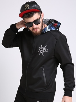 Ericdress Plus Size Zip Print Vogue Men's Hoodie