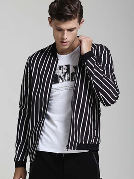 Ericdress Solid Color Stripe Vogue Men's Jacket
