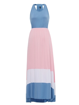 Color Block Sleeveless Maxi Dress