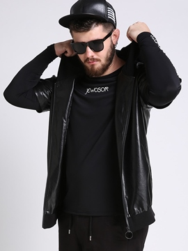 Ericdress Plus Size Zip Vogue PU Men's Jacket