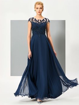 Ericdress Stunning A Line Cap Sleeve Beaded Chiffon Floor Length Evening Dress