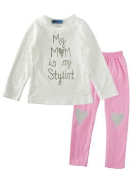 Ericdress Letter T-Shirt Love Pants Girls Outfit