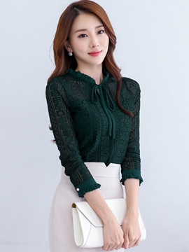 Ericdress Tie Bow Front Solid Color Lace Blouse