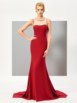 Ericdress Beaded Scoop Neck Sheer Back Mermaid Long Evening Dress