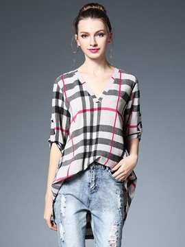 Ericdress V-Neck Plaid Casual Blouse