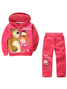 Ericdress Cartoon Bear Print Hoodie Pants Girls Outfit