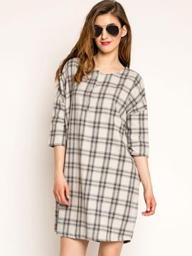 ericdress Plaid Patchwork loses beiläufiges Kleid