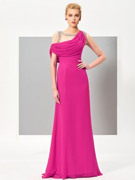 Ericdress Elegant A Line Beaded One Shoulder Floor Length Evening Dress