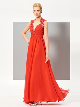 Ericdress A Line Lace Beaded Floor Length Long Evening Dress
