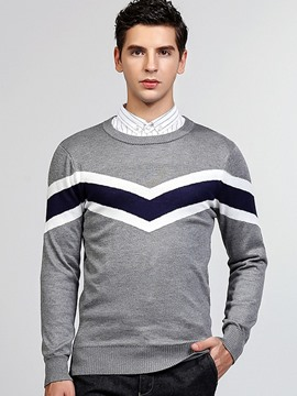 Ericdress England Style Vogue Color Block Pullover Men's Sweater