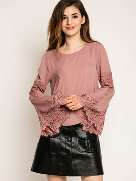 Ericdress Solid Color Trumpet Lace Patchwork Blouse
