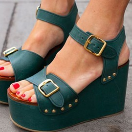 Dark Green Buckles Platform Sandals