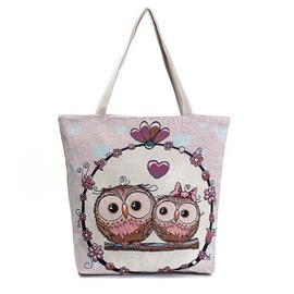 Ericdress Romantic Owl Print Canvas Tote Bag