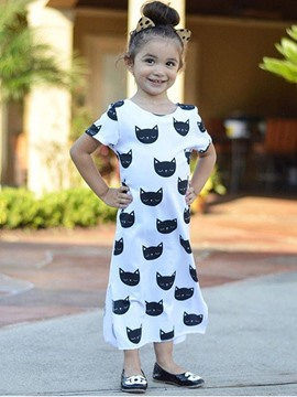 Ericdress Cat Printed Sleeveless Girls Dress