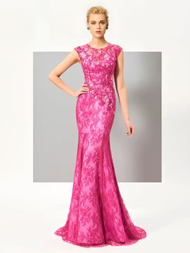 Ericdress Fancy Cap Sleeve Floor Length Lace Mermaid Evening Dress