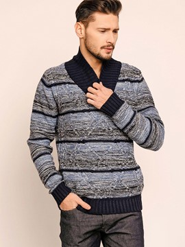 Ericdress Stand Collar Patchwork Pullover Vogue Men's Sweater