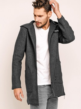 Ericdress Plain Hooded Zip Woolen Blends Men's Coat