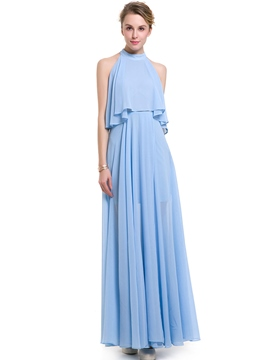 Ericdress Halter Falbala Split Pleated Maxi Dress