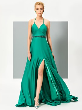 Ericdress Sexy Halter Beaded Waistline Side Slit Backless Evening Dress