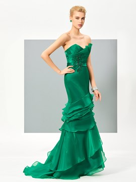 Ericdress Stunning Sweetheart Ruffles Beaded Trumpet/Mermaid Evening Dress