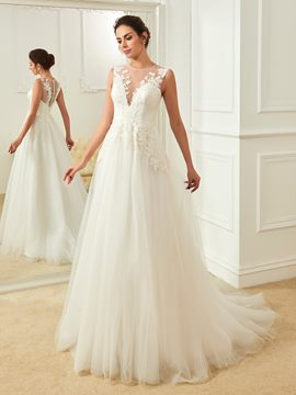 Ericdress Charming Jewel Appliques Backless A Line Wedding Dress