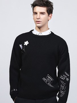 Ericdress England Style Embroidery Pullover Men's Sweater