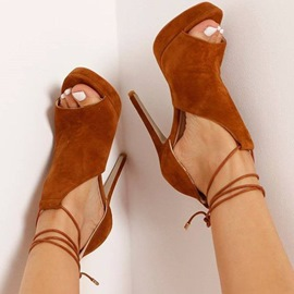 Ericdress Brown Lace Up Stiletto Sandals