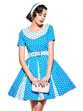 Ericdress Polka Dots Short Sleeve Vintage A Line Dress