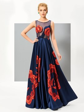Ericdress Unique Design A Line Scoop Neck Embroidery Floor Length Evening Dress