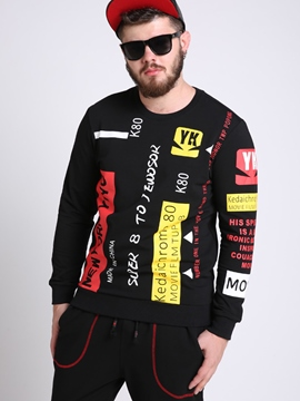 Ericdress Unique Color Block Print Plus Size Casual Men's Hoodie