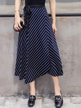 Ericdress Stripe Print Lace-Up High-Waist Pleated Expansion Skirt