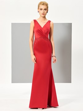 Ericdress Simple V Neck Sleeveless Sheath Mermaid Evening Dress