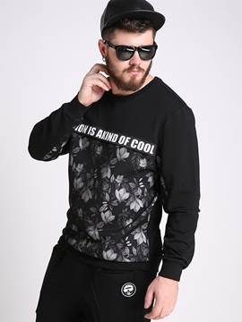 Ericdress Floral Crew Neck Plus Size Casual Men's Hoodie