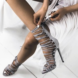 Gray Lace Up Sandals