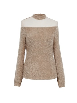 Turtleneck Mesh Patchwork Knitwear