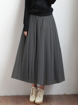 Ericdress Pleated Soild Color Expansion Usual Skirt