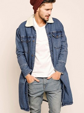 Ericdress Single-Breasted Mid-Length Denim Warm Thicken Vogue Men's Coat
