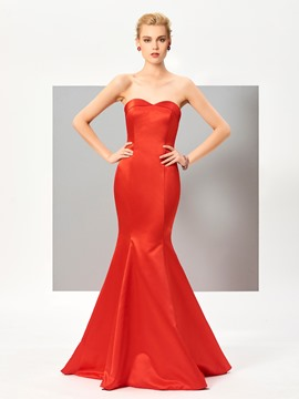 Ericdress Classic Mermaid Strapless Zipper-Up Floor Length Evening Dress With Sweep Train