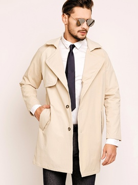 Ericdress Plain Lapel Vogue Men's Trench Coat