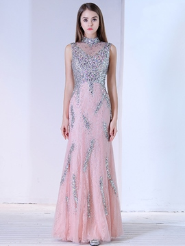 Ericdress Luxurious Beaded Sheath High Neck Floor Length Long Evening Dress