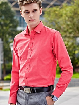Ericdress Simple Plain Slimming Long Sleeve Men's Shirt