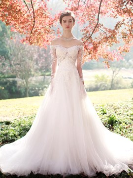 Ericdress Charming Appliques Off The Shoulder A Line Long Sleeves Wedding Dress