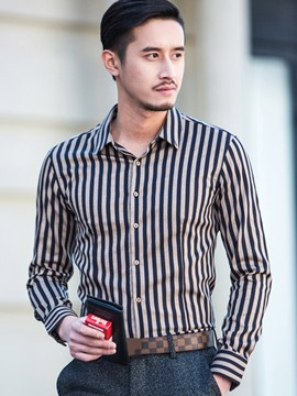 Ericdress Stripe Vogue Slim Men's Shirt