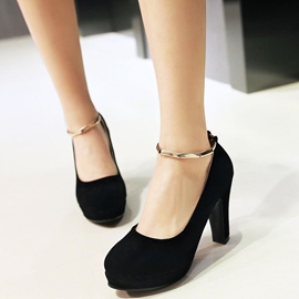 Ericdress Suede Platform Round Toe Ankle Strap Prom Shoes